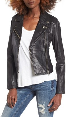 Women's Obey Diablo City Leather Moto Jacket $407 thestylecure.com