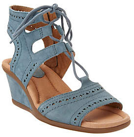Earth Leather Lace-up Peep-Toe Wedge Sandals -Daffodil
