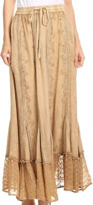 172a9c235f MONICA Sakkas 5051 Womens Gypsy Bohemian Long Maxi Skirt with Elastic Waist  and Lace - L