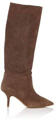 Yeezy Women's Distressed Suede Knee Boots - Brown