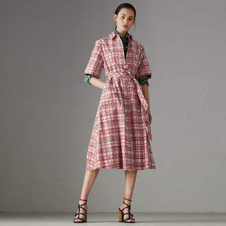 Burberry Painted Check Cotton Shirt Dress , Size: 10, Blue