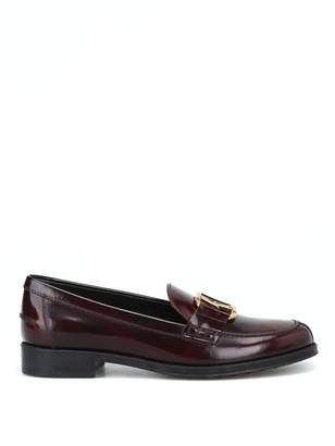 Tod's Double T Oval Horsebit Burgundy Loafers