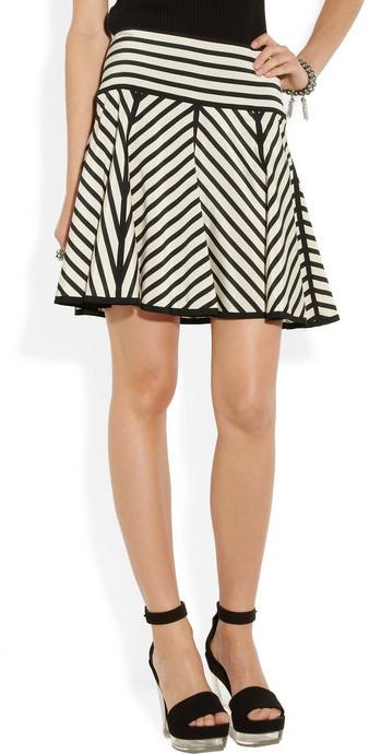 DKNY Striped stretch-silk crepe de chine skirt