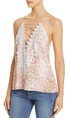 WAYF Posie Lace-Up Snake Print Camisole