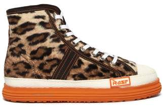 Martine Rose Leopard Faux Fur Basketball Trainers - Womens - Leopard