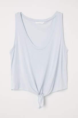 H&M Sleeveless Tie-hem Top - Blue