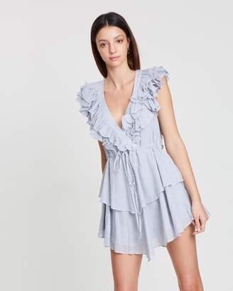 Shona Joy Ruffle Drawstring Mini Dress