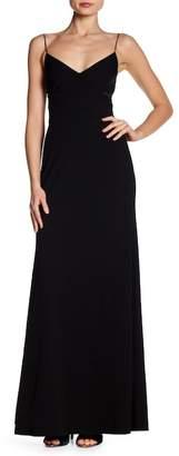 Vera Wang Crepe Side Mesh Cutout Gown