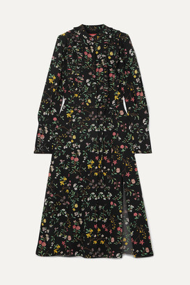 Altuzarra League Ruffled Floral-print Silk Crepe De Chine Midi Dress - Black