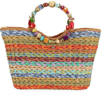 Cappelli Straworld Beaded Ring Striped Straw Tote Bag, Multi