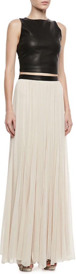 Alice + Olivia Dawn Leather-Waist Maxi Skirt