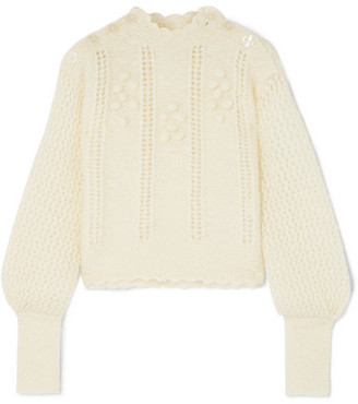 LoveShackFancy Persephone Pompom-embellished Mohair-blend Sweater - Cream
