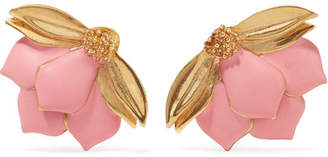 Painted Wild Lotus Gold-plated Clip Earrings - Pink