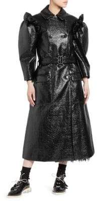 Simone Rocha Puff-Sleeve Laminated Tweed Trench Coat