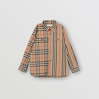 Burberry Childrens Panelled Vintage Check and Icon Stripe Cotton Shirt