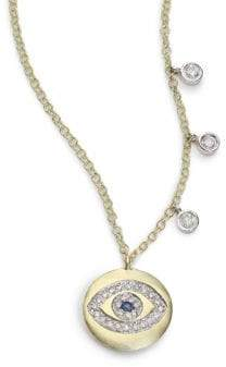 Meira T Sapphire, Diamond& 14K Yellow Gold Evil Eye Disc Charm Necklace