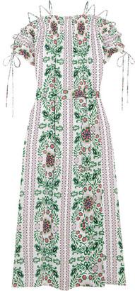 Tory Burch - Asilomar Lace-up Printed Silk-crepe Midi Dress - White $650 thestylecure.com
