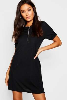 boohoo Zip Front Ribbed Tee Dress