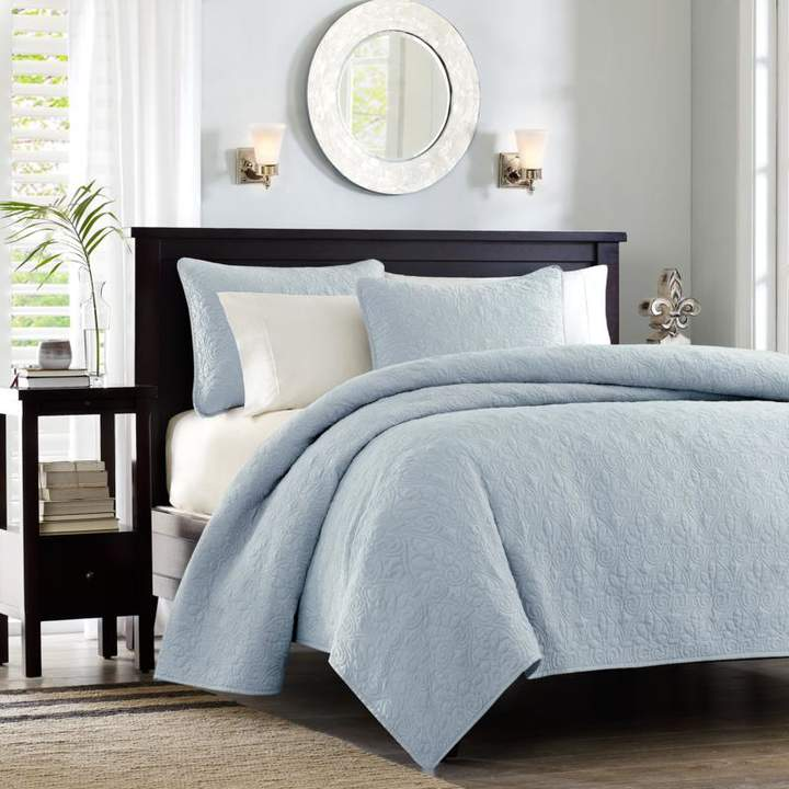 E and E Co., LTD. Madison Park Quebec King/Cal King Quilted Coverlet Mini Set - Blue