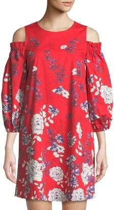 Maggy London Cold-Shoulder Floral Poplin Mini Dress