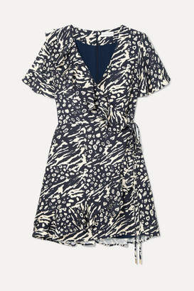 Rebecca Vallance Flores Wrap-effect Ruffled Printed Crepe Mini Dress - Navy