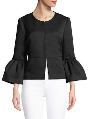 Isaac Mizrahi IMNYC Pique Bracelet Bell Sleeve A-Line Jacket