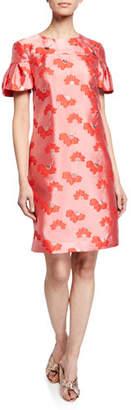 Trina Turk Jacinta Joyride Jacquard Puff-Sleeve Sheath Dress
