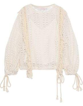 See by Chloe Tassel-trimmed Crocheted Sweater