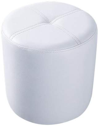 Pilaster Designs Ula White Faux Leather Upholstered Contemporary 13 x 15-Inch Round Ottoman Stool Bench