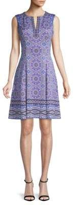 Maggy London Printed Scuba Fit-&-Flare Dress