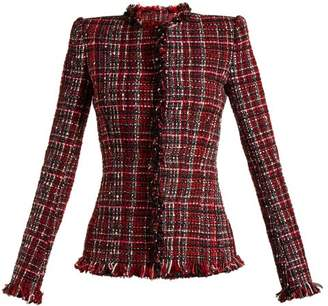 Alexander McQueen Tweed Collarless Jacket - Womens - Red Multi