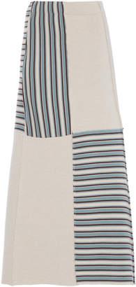 Jil Sander Midi Striped Wool Skirt