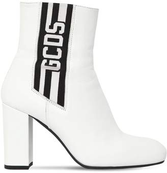 Gcds 90mm Stripe Leather Ankle Boots