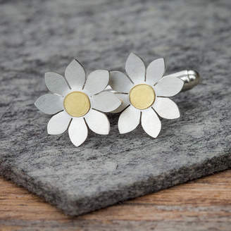 Dahlia Diana Greenwood Jewellery Cufflinks In Solid Silver And 18ct Gold