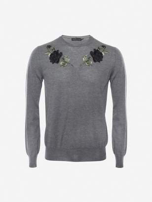 Alexander McQueen Embroidered Rose Crew Neck Sweater