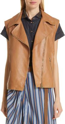 Brunello Cucinelli Monili Trim Leather Moto Vest