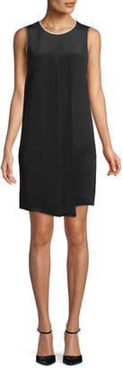 Max Mara Satira Crewneck Sleeveless Pleated-Front A-Line Silk Dress