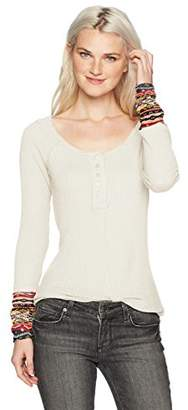 Eye Candy Women's L/s Scoop Neck Henley Top W/Printed Cuff-Waffle/Hacci