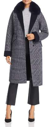 Maximilian Furs Fox Fur-Collar Plaid Wool Coat - 100% Exclusive