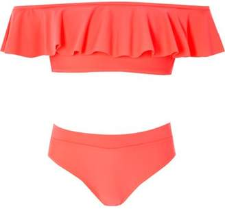 River Island Girls coral pink bardot frill bikini set