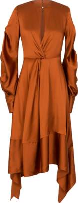Jonathan Simkhai Fluid Satin Keyhole Midi Dress