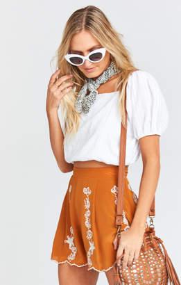 Show Me Your Mumu Marley Silk Shorts ~ Blushing Lace Camel