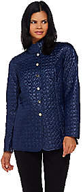 Dennis Basso Water Resistant Quilted Jacket w/Welt Pockets