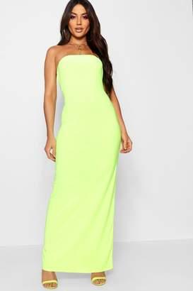 boohoo Neon Bandeau Maxi Dress