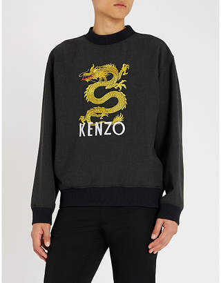 Kenzo Dragon-embroidered stretch-jersey sweatshirt
