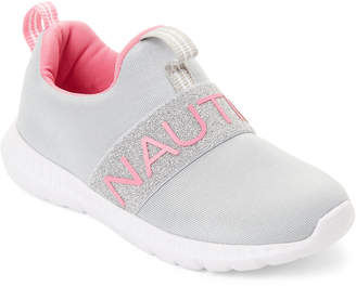 Nautica Toddler Girls) Pink & Gray Glitter Logo Band Sneakers