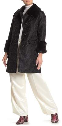 Kate Spade Metallic Jacquard Faux Fur Trim Coat