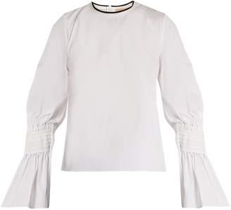 Roksanda Kalila shirred-cuff cotton-poplin top