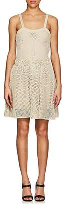 RED Valentino WOMEN'S FLOWER-DETAILED CROCHET DRESS - BEIGE/KHAKI SIZE M