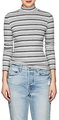 Frame Women's Striped Rib-Knit Mock-Turtleneck Top